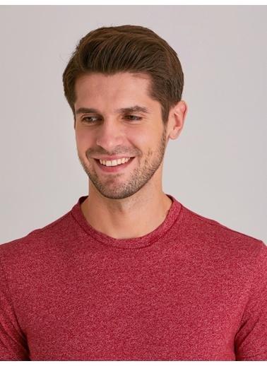Dufy Melanj Bısıklet Yaka Erkek T-Shirt - Slim Fit Bordo